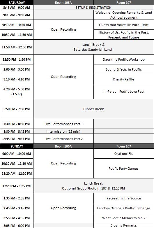 Podfication 2018 Schedule